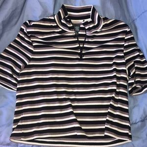 NWOT striped quarter zip short sleeve top